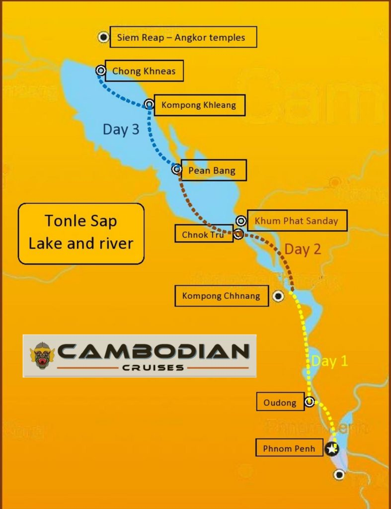 Itinary Siem Reap Phnom-Penh by boat Cambodian cruises